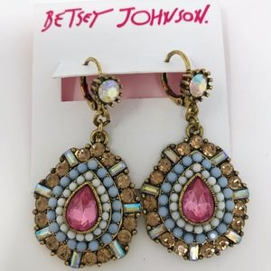 Betsey Johnson dangle earring crystal rhinestone